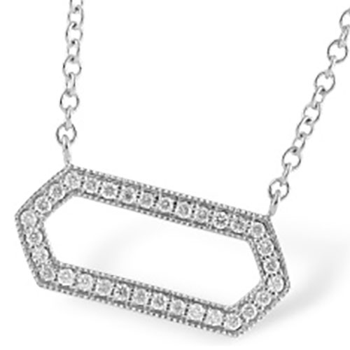 "Allison Kaufman 14K White Gold 1/5 ct tw Diamond Pendant with 18"" Chain"