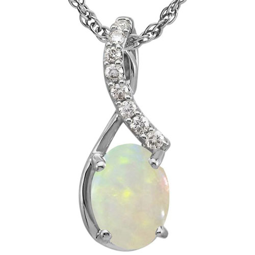 "14K White Gold Opal Pendant 1/12 ct tw in Diamonds with 18"" Chain"
