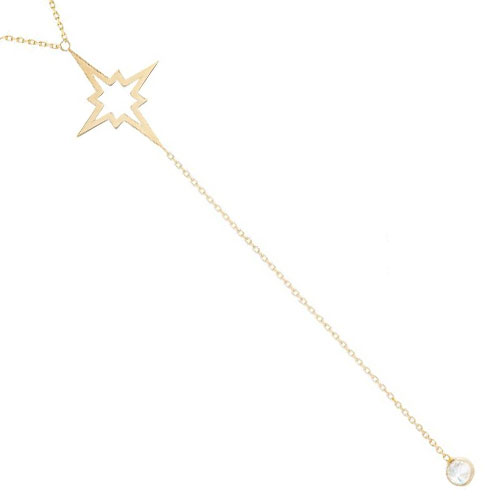 """14K Yellow Gold Lariet Style Necklace with Cubic Zirconia, 18"""" Chain Attached"""