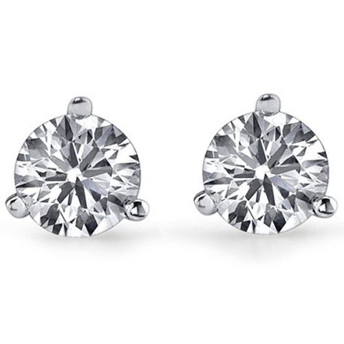 14K White Gold Diamond Solitaire Earrings 1/4 ct tw H-I2 Quality