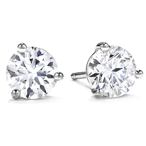 14K White Gold Diamond Solitaire Earrings 1/2 ct tw Ideal Cut G-SI2