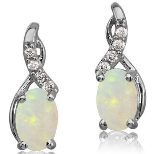 14K White Gold Opal Earrings 1/20 ct tw in Diamonds