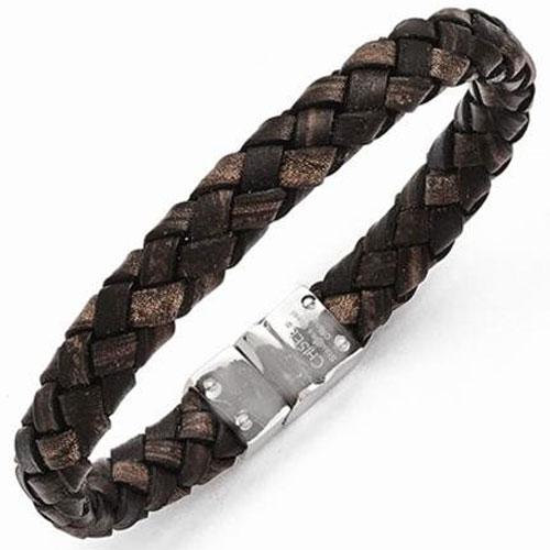 "Stainless Steel & Brown Leather 8.75"" Men's Bracelet"