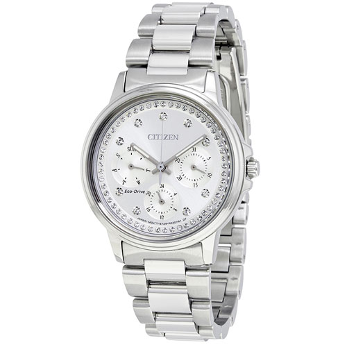 Citizen White Eco Drive Watch with Silver Dial and Crystals