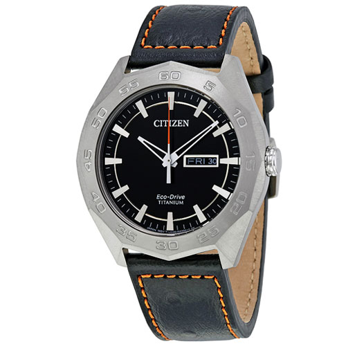 AW0060-03E Citizen Titanium Eco-Drive Watch with Black Dial