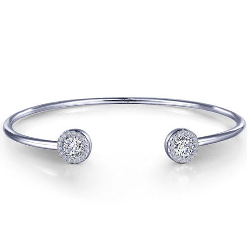 Lafonn Sterling Silver Simulated Diamond Open Flex Bangle