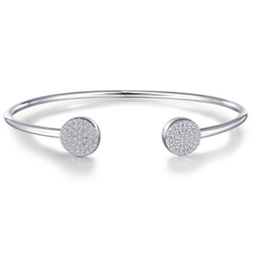 Sterling Silver Simulated Diamond Open Flex Bangle