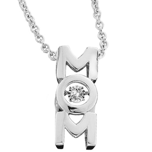 """Sterling Silver Diamond Dancer Mom Pendant with 18"""" Chain"""