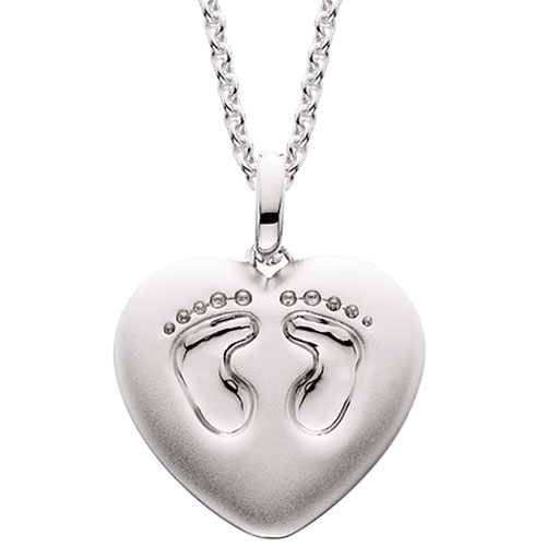 """Mommy Chic Sterling Silver Footprint Heart Pendant with 18"""" Chain"""