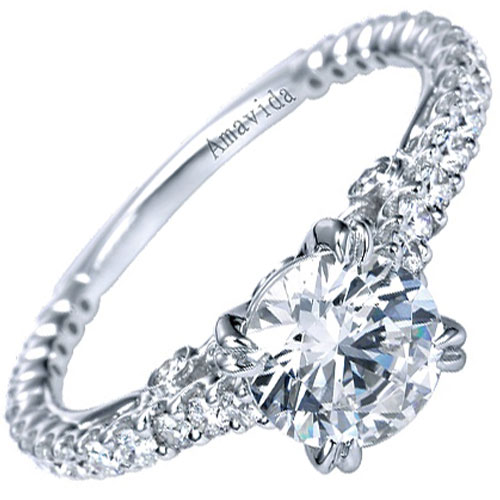 Amavida 18K White Gold 1/2 ct tw Engagement Ring Mounting Only, 1 ct Center Diamond (not included)