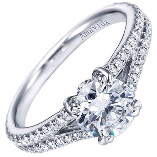 18K White Gold 1/2 ct tw Engagement Ring Mounting, 1 1/2 ct Center Diamond (not included)