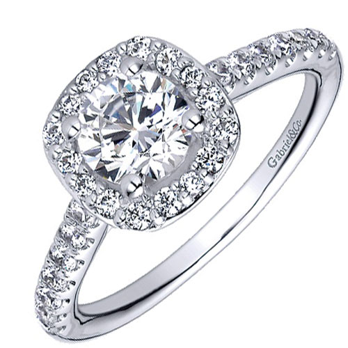 Gabriel 14K White Gold 3/8 ct tw Engagement Ring Mounting Only
