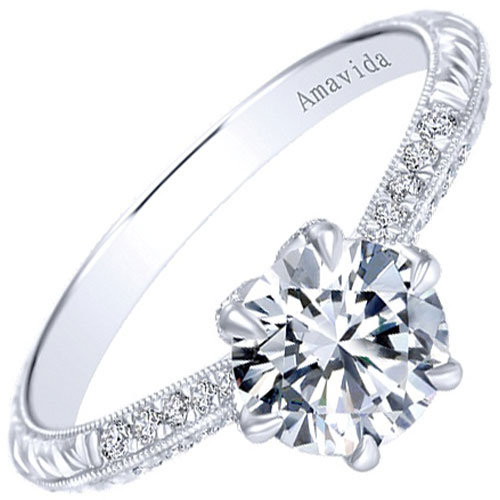 Platinum 1/7 ct tw Engraved Engagement Ring Mounting, 1 ct Center Diamond (not included)