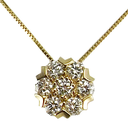 "14K Yellow Gold 1/2 ct tw Diamond Cluster Pendant, with 18"" Chain"