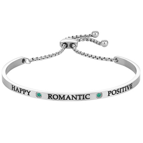 "Intuitions Steel ""HAPPY, ROMANTIC, POSITIVE"" May Adjustable Bracelet"