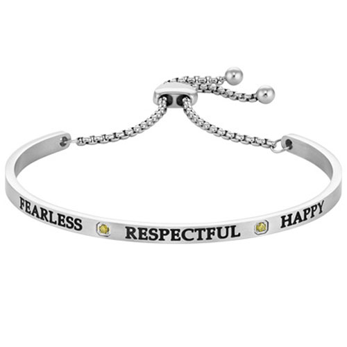 "Intuitions Steel ""FEARLESS, RESPECTFUL, HAPPY"" August Adjustable Bracelet"
