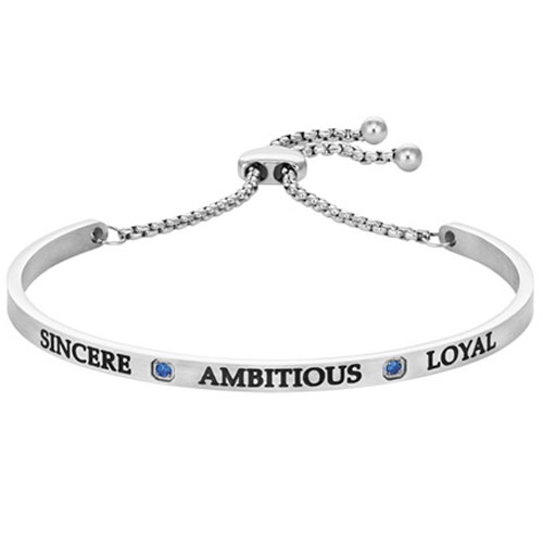 "Intuitions Steel ""SINCERE, AMBITIOUS, LOYAL"" September Adjustable Bracelet"