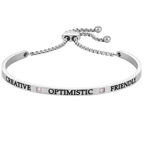 "Intuitions Stainless Steel ""CREATIVE, OPTIMISTIC, FRIENDLY"" October Birthstone Adjustable Bracelet"