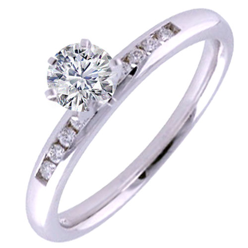 14K White Gold 3/8 ct tw Engagement Ring, Center Diamond .31 ct Ideal Cut G-SI2