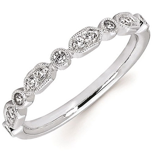 14K White Gold 1/7 tw Diamond Stackable Ring