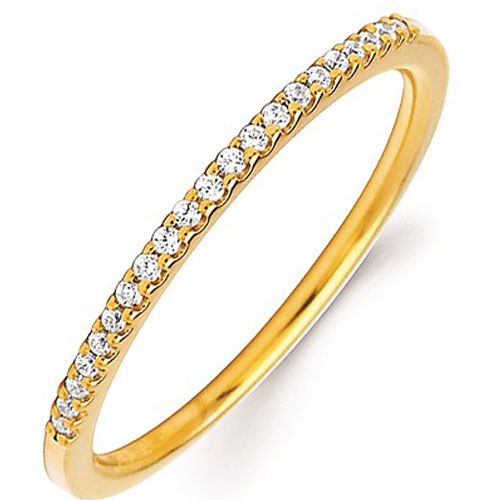 14K Yellow Gold 1/10 tw Diamond Stackable Ring