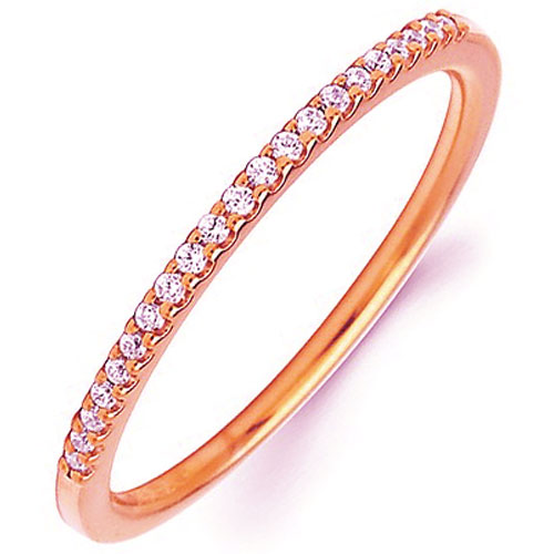 14K Rose Gold 1/10 tw Diamond Stackable Ring
