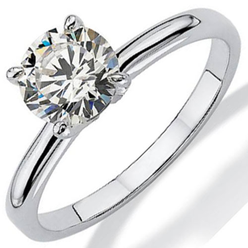 14K White Gold 1/3 ct Diamond Solitaire Engagement Ring, Center Diamond .33ct J-SI2