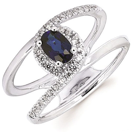 14K White Gold Sapphire Ring with 1/4 ct tw in Diamonds