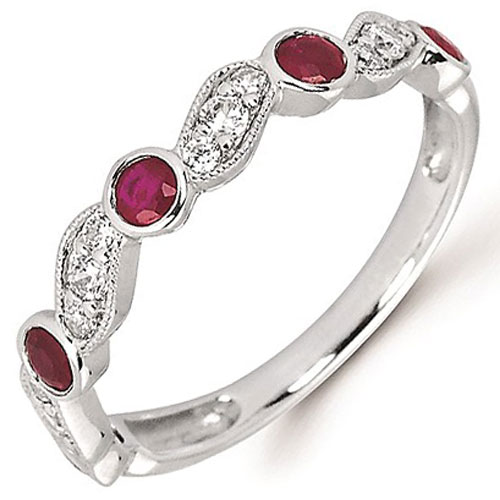 14K White Gold Ruby Stackable Ring with 1/5 ct tw in Diamonds