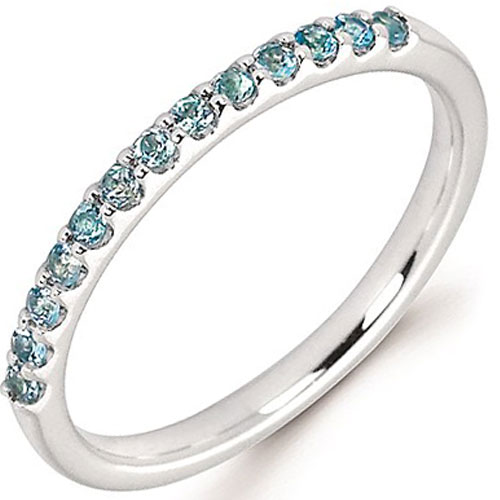14K White Gold Blue Topaz Stackable Ring