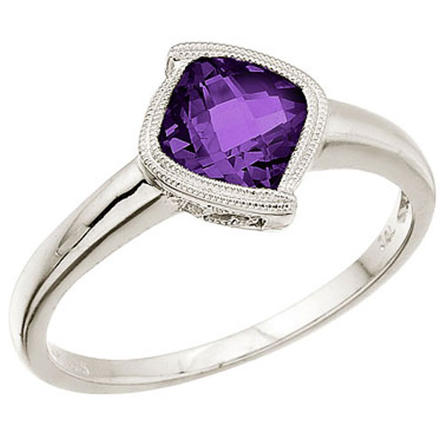 14K White Gold Amethyst Ring with Diamonds
