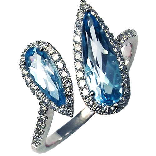 14K White Gold Blue Topaz Ring with 1/3 ct tw in Diamonds