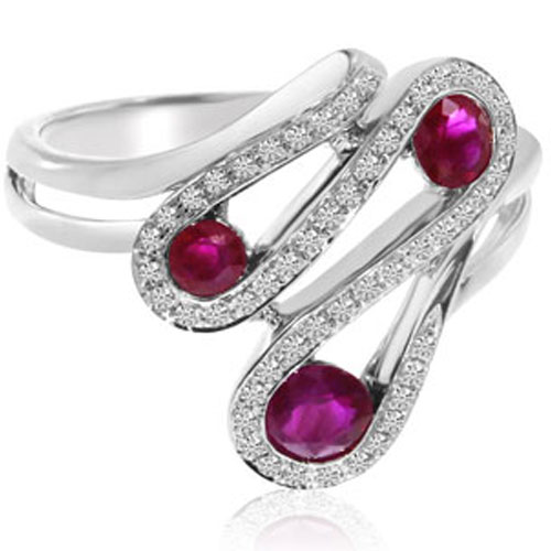 14K White Gold Ruby Ring with 1/5 ct tw in Diamonds
