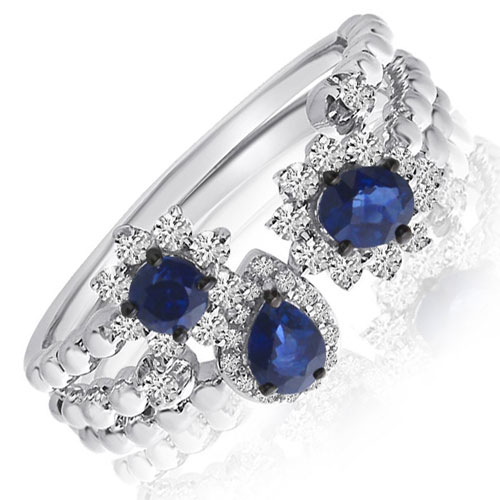 Set of 3 14K White Gold Sapphire Stackable Rings with 1/3 ct tw in Diamonds
