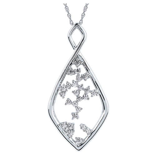 "14K White Gold 1/10 ct Diamond Cross Pendant with 18"" Chain"