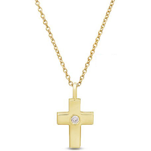 "14K Yellow Gold 1/10 ct Diamond Cross Pendant with 18"" Chain"