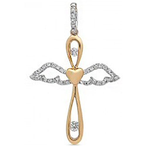 "14K White & Rose Gold Diamond Angel Cross Pendant with 18"" chain"