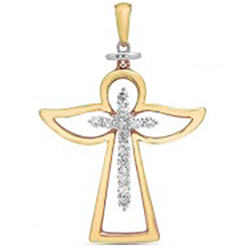 "14K Yellow & White Gold Diamond Angel Cross Pendant with 18"" chain"