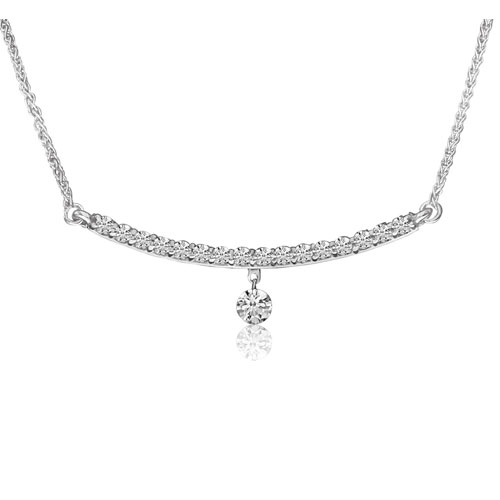 """14K White Gold Diamond Necklace with 18"""" Chain Attached"""