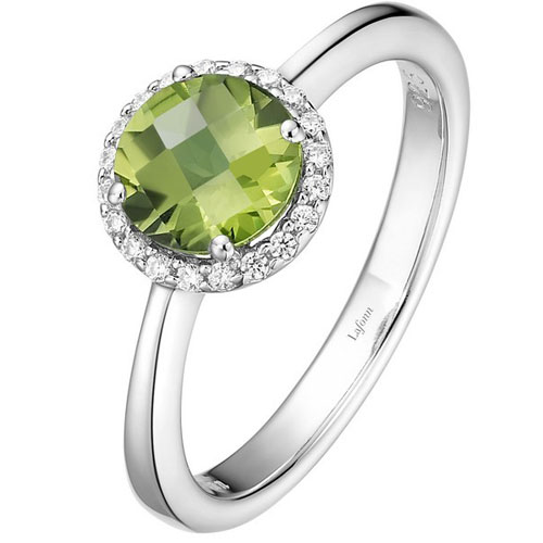 Lafonn Sterling Silver Peridot & Simulated Diamond Ring