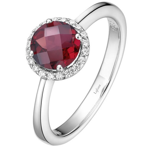 Sterling Silver Garnet & Simulated Diamond Ring