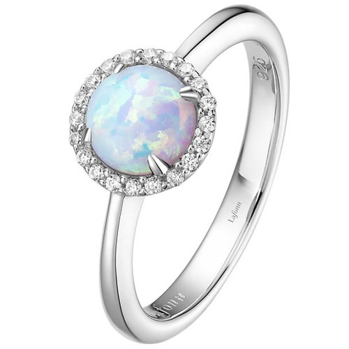 Lafonn Sterling Silver Created Opal & Simulated Diamond Ring