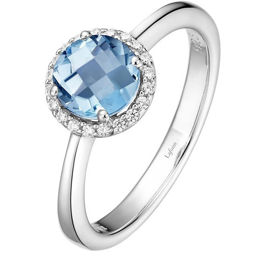 Sterling Silver Simulated Aquamarine & Simulated Diamond Ring