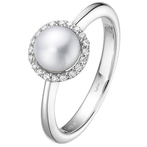 Sterling Silver Fresh Water Pearl & Simulated Diamond Ring