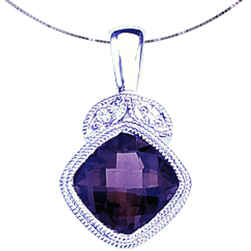 "14K White Gold Gemstone Amethyst Pendant with 18"" Chain"