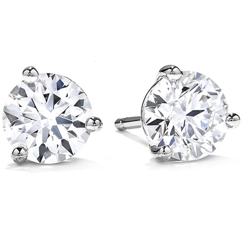 14K White Gold 1 1/2 ct tw Diamond Solitaire Earrings Ideal Cut G-I1