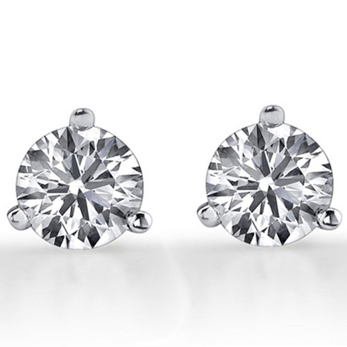 14K White Gold 1/3 ct tw Diamond Solitaire Earrings Ideal Cut I-I1