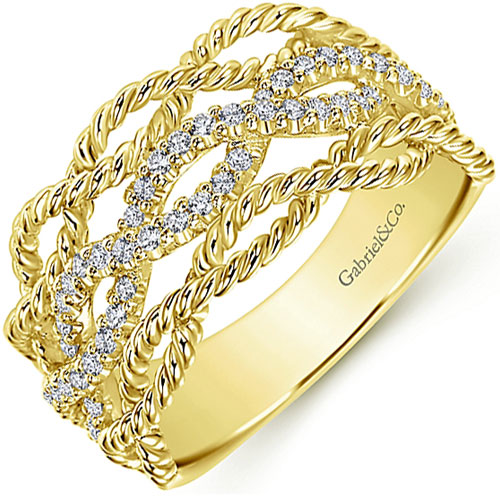 Gabriel & Co. Yellow gold diamond ring