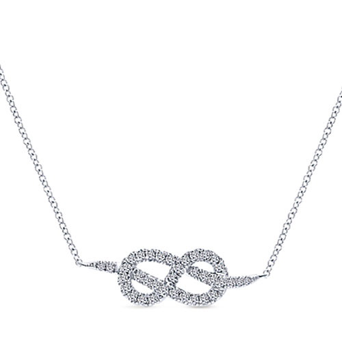 "Gabriel 14K White Gold 1/4 ct tw Diamond Knot Necklace 17"" Chain Attached"