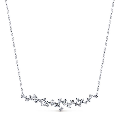 "Gabriel 14K White Gold 1 1/5 ct tw DiamonGGabriel Necklace 17"" Chain Attached"